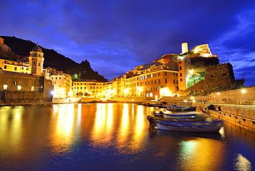 Illuminated port of Vernazza at night, Vernazza, Cinque Terre, National Park Cinque Terre, UNESCO World Heritage Site Cinque Terre, Liguria, Italy