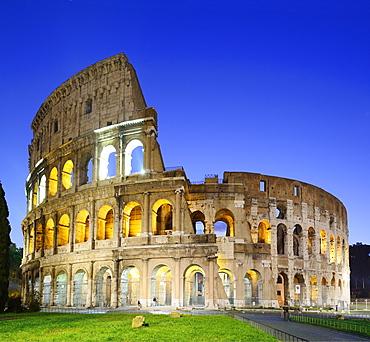 Illuminated Colosseum of Rome at night, UNESCO World Heritage Site Rome, Rome, Latium, Lazio, Italy