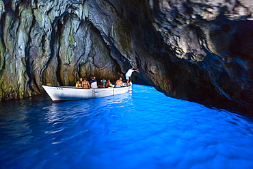 Blue Grotto at Cape Palinuro, Cilento, Campania, Southern Italy, Europe