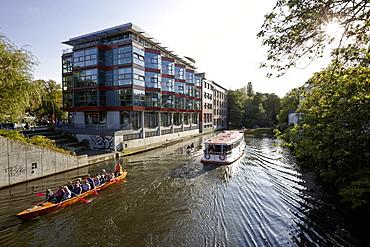 Rowing boats, Goldbekkanal in Winterhude, Hamburg, Germany