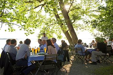 Beer garden near Uebersee, Chiemsee, Chiemgau, Bavaria, Germany