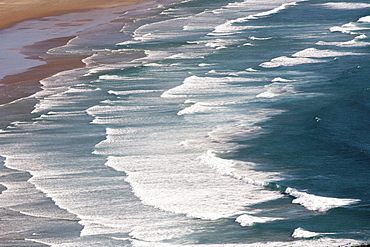 Te Werahi Beach with surf, Cape Reinga, most northerly point, Tasman Sea, North Island, New Zealand