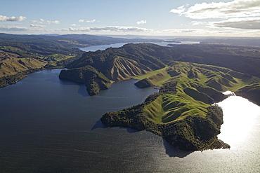 Aerial view of Lake Rotoehu, Bay of Plenty, North Island, New Zealand