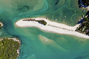 Aerial view of the Awaroa Inlet with turquoise coloured sea, Abel Tasman National Park, South Island, New Zealand