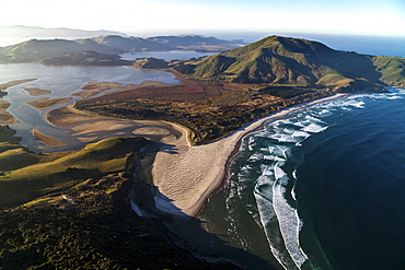 Aerial view across Otago Peninsula with Allans beach and Hoopers Inlet, Dunedin, Otago, South Island, New Zealand