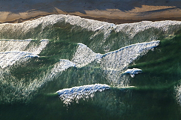 Aerial view of waves from above, coast, South Island, New Zealand