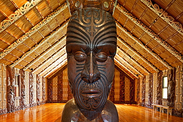 Maori traditional meeting house at Waitangi, carved meeting house representing all tribes, Maori Culture, Te Whare Runanga, North Island, New Zealand