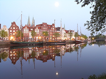 Old Harbour and River Trave, Hanseatic City of Luebeck, Schleswig Holstein, Germany