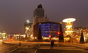 City Center Christmas market, Breitscheidplatz square, Kaiser Wilhelm Memorial Church, Berlin, Germany, Europe