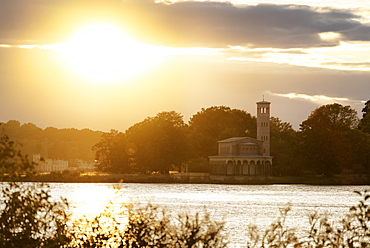 Havel, Church of the Redeemer in Sacrow with view to the Dairy and the New Garden, Potsdam, Land Brandenburg, Germany