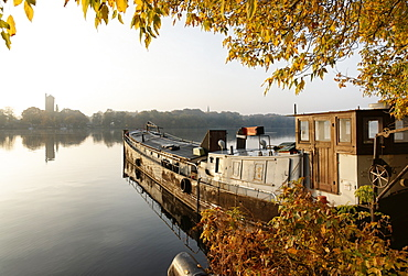 Old Cargo Ship, Templin Lake, Havel, Water Tower on Hermannswerder island, Potsdam, Land Brandenburg, Germany