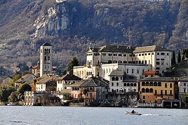 Island of San Giulio, Lago d`Orta, Piedmont, Italy