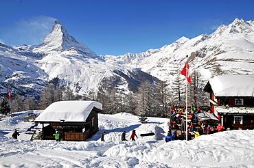 At Riffelberg in the ski resort of Zermatt with Matterhorn in the background, Valais, Switzerland
