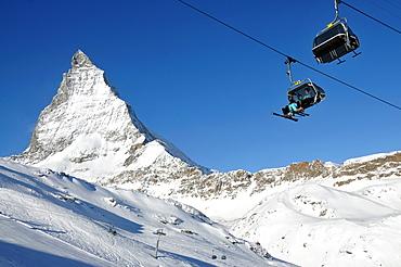 At Trockener Steg on the Theodul glacier with Matterhorn in the background, Zermatt ski resort, Valais, Switzerland