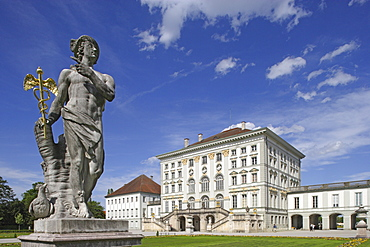 Sculpture on the rear side of Nymphenburg Castle, Munich, Bavaria, Germany