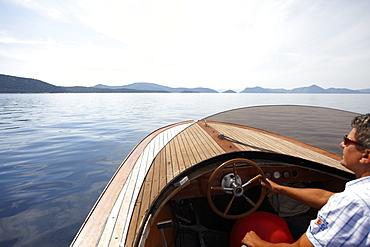 Motor boat on the Adriatic Sea near Sipanska Luka, Sipan island, Elaphiti Islands, northwest of Dubrovnik, Croatia