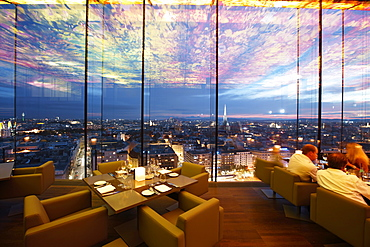 Guests in restaurant Le Loft, ceiling designed by Pippilotti Rist, Hotel Sofitel Vienna Stephansdom, architect Jean Nouvel, Vienna, Austria
