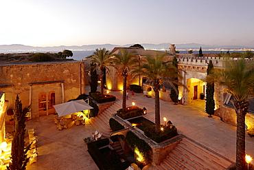 Courtyard with restaurant La Fortaleza Las Jaimas, Hotel Cap Rocat, Ctra. d'enderrocat, s/n, 07609 Cala Blava, Mallorca, Balearic Islands, Spain