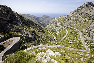 Legendary road 'The Snake' to Sa Calobra, MA-2141, Tramuntana mountains, Mallorca, Balearic Islands, Spain