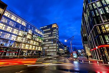 Twilight at Grosser Grasbrock street in Hafencity, Hamburg, Germany