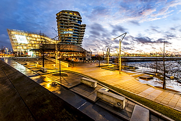 Twilight at Marco-Polo-terrace and Marco-Polo-tower in Hafencity, Hamburg, Germany
