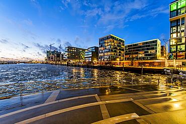 Twilight at Marco-Polo-terrace in Hafencity, Hamburg, Germany