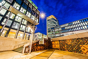 Twilight at the Marco-Polo-terrace in Hafencity, Hamburg, Germany