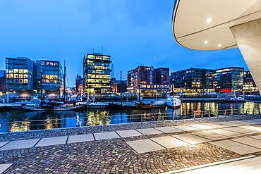 Twilight at Magellan-Terrace in Hafencity, Hamburg, Germany