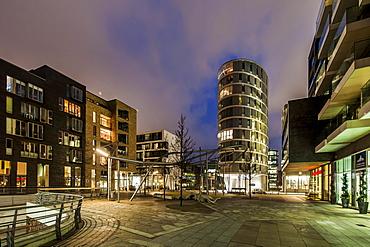 Twilight at Vasco-da-Gama square at hafencity, Hamburg, Germany