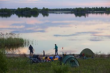 Family camping at Werbeliner See, Saxony, Germany