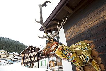 House facade with deer, Muerren, canton of Bern, Switzerland
