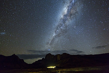 Southern starry Sky with milky way, over the Tsaranoro Mountain Range, South Madagascar, Africa