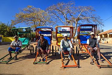 Rickshaws, pousse pousse, Bara tribe, Ihosy, South Madagascar, Africa