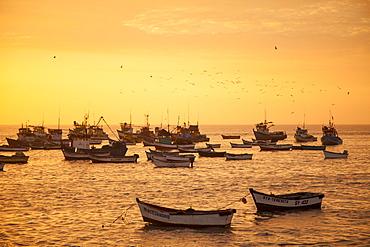 Fishing boats at sunset, Salaverry near Trujillo, La Libertad, Peru