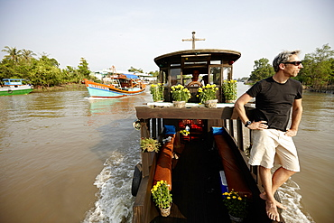 Houseboat on river Mekong, Long Xuyen, An Giang Province, Vietnam
