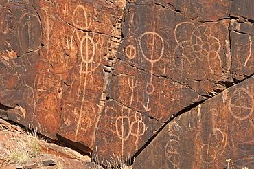 Aboriginal petroglyphs in Chambers Gorge, Flinders Ranges, South Australia, Australia