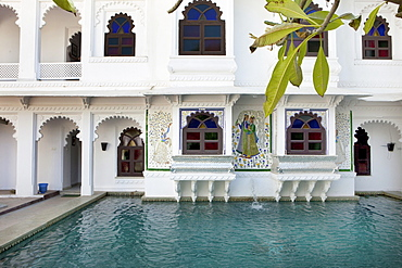 Facade and pond of a luxury hotel, Udaipur, Rajasthan, India