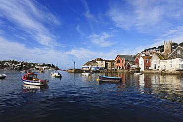 Fishing boat passing harbor, Fowey, Cornwall, England, United Kingdom