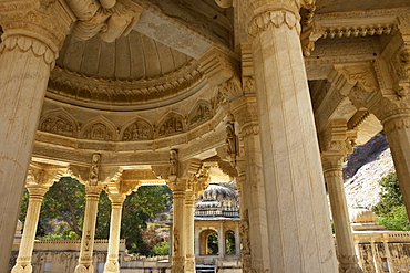 Pillars and vault of a cenotaph of the Royal Gaitor, Jaipur, Rajasthan, India
