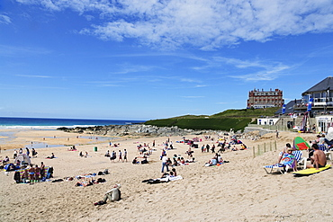 View over Fistral Beach, Newquay, Cornwall, England, United Kingdom