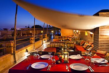 Rooftop dining, El Fenn, Marrakech, Morocco