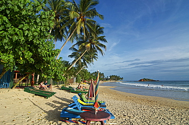 Palm trees and beach chirs on the beach of Mirissa, South coast, Sri Lanka, South Asia