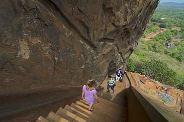 Steep stairs leading down from the rock at Sigiriya, Matale Distict, Cultural Triangel, Sri Lanka