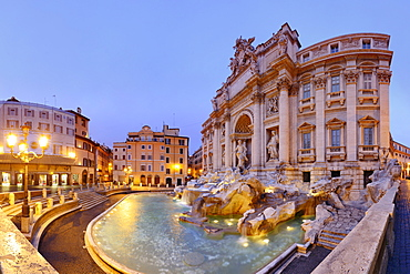 Panorama of Trevi fountain, Fontana di Trevi, illuminated, Rome, UNESCO World Heritage Site Rome, Latium, Lazio, Italy