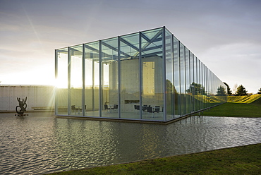Museum of the Modern and Japanese art, grounds of former NATO rocket-base, architect Tadao Ando, Langen Foundation, near Neuss, North Rhine-Westphalia, Germany