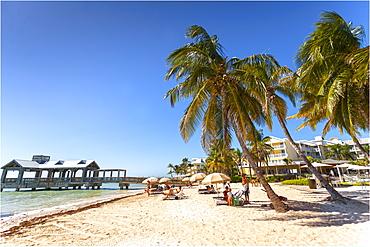 Beach area at luxury hotel Reach Resort, Key West, Florida Keys, USA