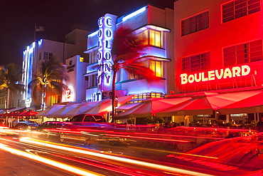 Ocean Drive at night with design hotel Colony, Art Deco District, South Beach, Miami, Florida, USA