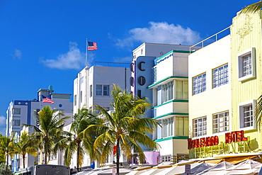 Impression on Ocean Drive with Art Deco architecture, South Beach, Miami, Florida, USA