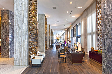 Lobby of luxury resort W Hotel of Starwood Hotel chain, Collins Avenue, Art Deco District, South Beach, Miami, Florida, USA