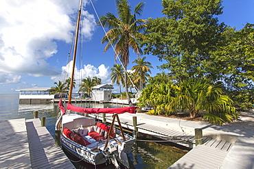 Sailing boat at Hotel Resort Casa Morada, Islamorada, Florida Keys, Florida, USA